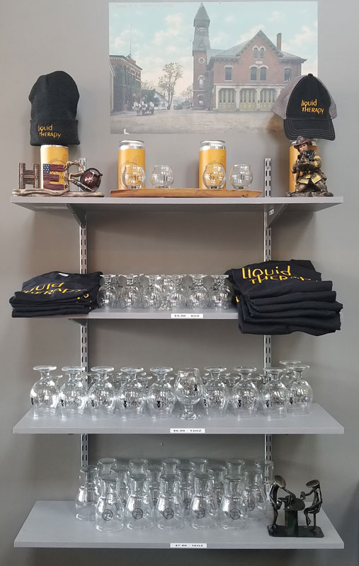 Liquid Therapy shirts, glassware, hats, and more